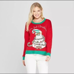 Ugly Christmas sweater cat holiday large